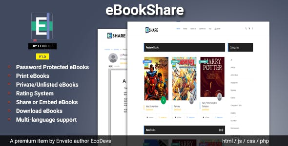 Download] eBookShare - eBook hosting and sharing script Nulled